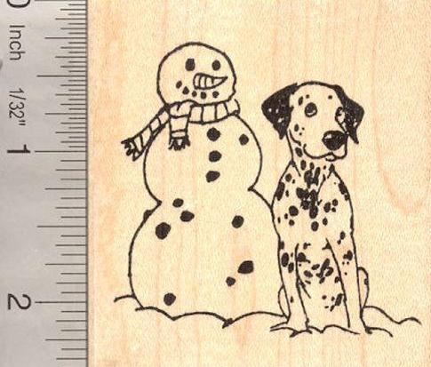 Dalmatian Dog with Snowman Rubber Stamp