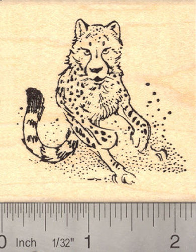 Running Cheetah, Wildlife Rubber Stamp