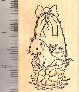 Ferret Easter Basket Rubber Stamp