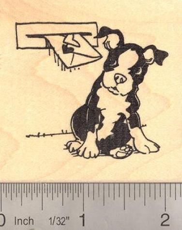 Boston Terrier Valentine Rubber Stamp