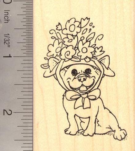 French Bulldog in Easter Bonnet Rubber Stamp