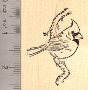 Cardinal Bird on Branch - Beautiful Rubber Stamp