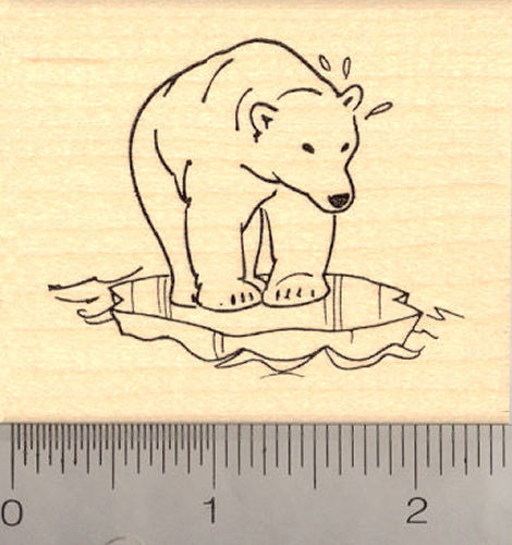 Polar Bear on Ice Floe Rubber Stamp