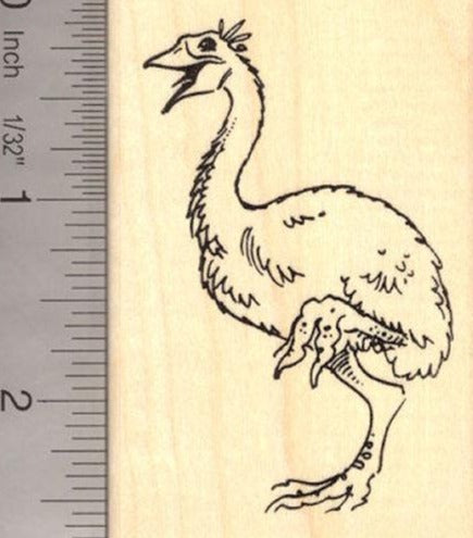 Elephant Bird Rubber Stamp (Extinct Megafauna)