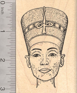 Egyptian Queen Nefertiti Rubber Stamp, Wife Consort of Pharaoh Akhenaten