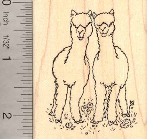 Alpaca Pair Rubber Stamp (Huacaya)