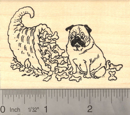 Pug Dog Thanksgiving Cornucopia Rubber Stamp