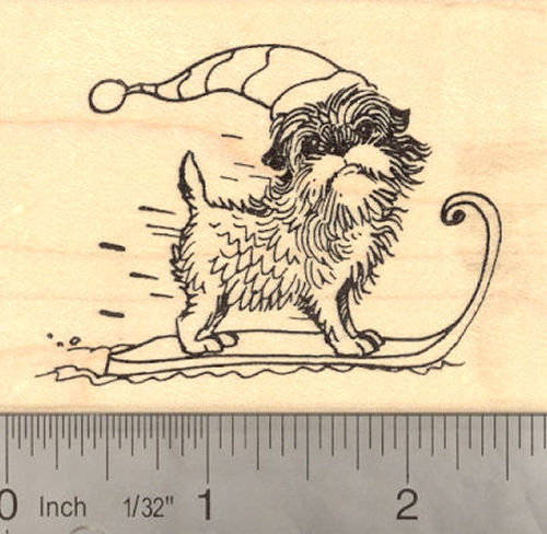Affenpinscher on winter sled - Holiday Rubber Stamp