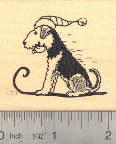Airedale Terrier Dog Sledding Rubber Stamp
