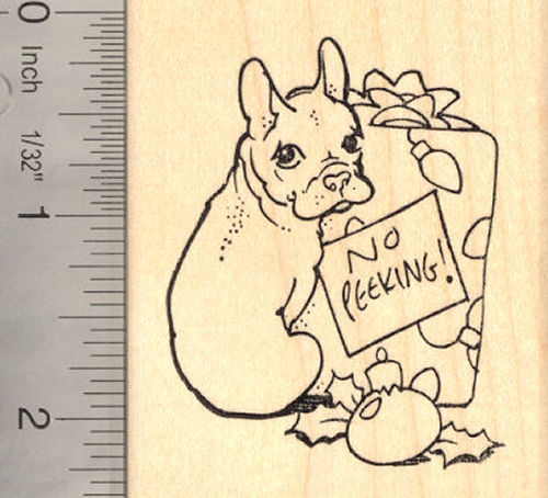 Christmas French Bulldog Rubber Stamp