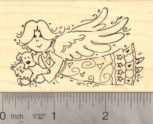 Angel Holding Cat and Dog in her arms Rubber Stamp
