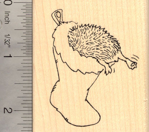 Hedgehog in Christmas Stocking Rubber Stamp
