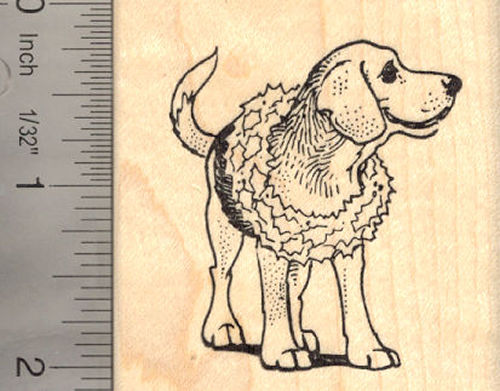 Beagle Dog with Christmas Wreath Rubber Stamp