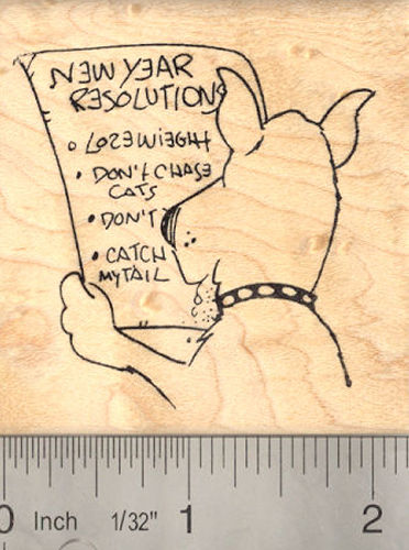 Dog New Year's Resolution Rubber Stamp