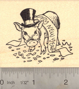 happy new year pig rubber stamp rubberhedgehog rubber stamps