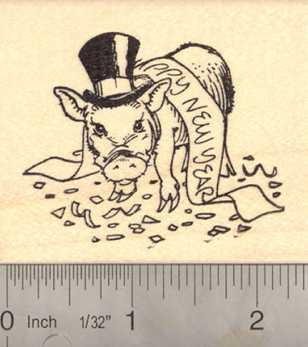 Happy New Year Pig Rubber Stamp