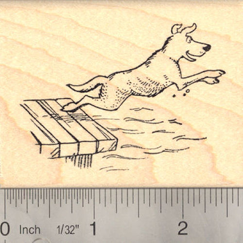 Water Dog on Wharf Summer Fun Rubber Stamp