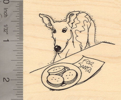 Christmas Greyhound Tempted by Santa's Cookies Rubber Stamp