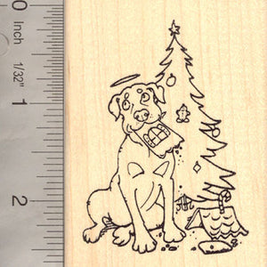 Christmas Gingerbread Dog Angel Rubber Stamp