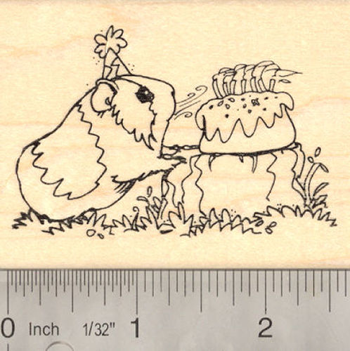 Birthday Guinea Pig Rubber Stamp
