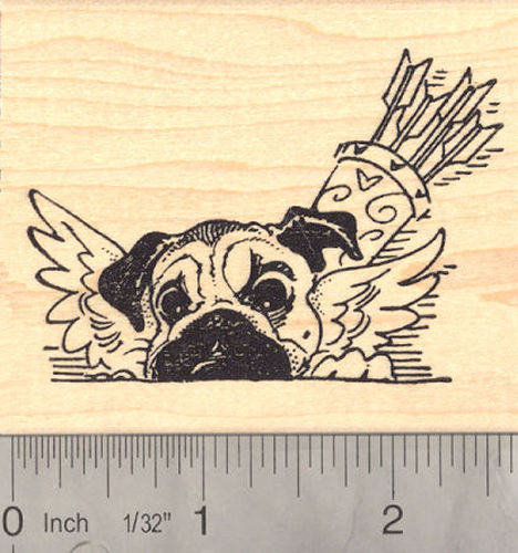 Valentine's Day Pug Dog as Cupid Rubber Stamp