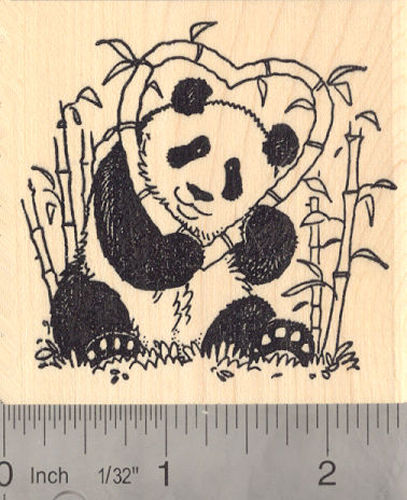 Panda with Heart Valentine Rubber Stamp