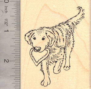 Golden Retriever Dog with Heart Valentine's Day Rubber Stamp