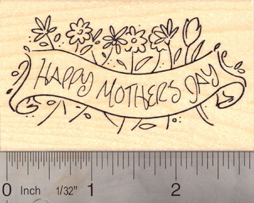 Happy Mother's Day Banner Rubber Stamp
