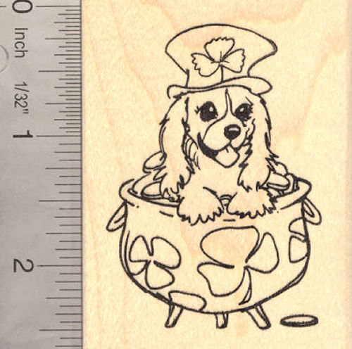 St. Patrick's Day Cavalier King Charles Spaniel Dog Rubber Stamp, Leprechaun Pot of Gold