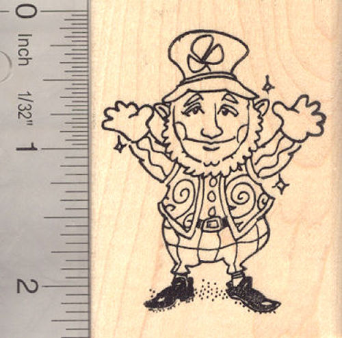 St. Patrick's Day Leprechaun Rubber Stamp, Irish Luck