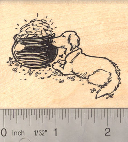 St. Patrick's Day Dog Rubber Stamp, Leprechaun pot of gold