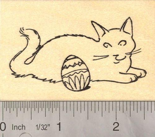Easter Cat Rubber Stamp