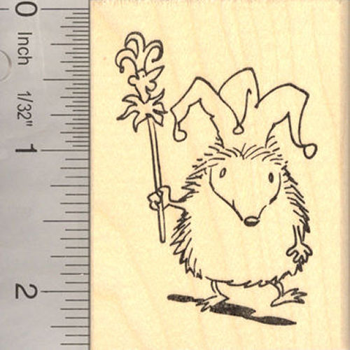 Hedgehog Jester April Fool Rubber Stamp