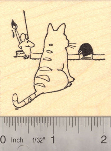 Cat and Mouse Prank, April Fools Day Rubber Stamp