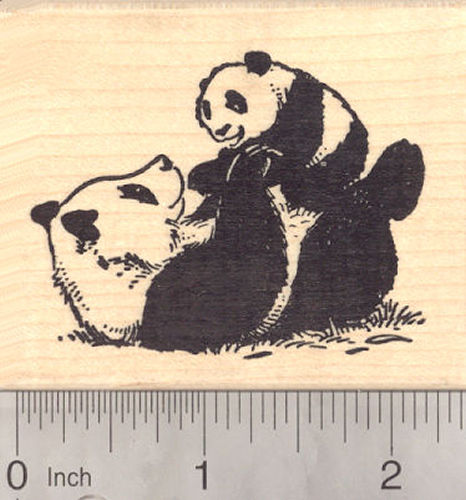 Giant Panda Bear Baby with Mom, Mother's Day Rubber Stamp