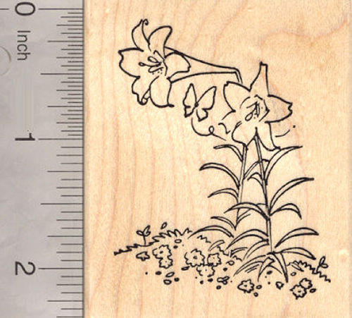 Lilies, Flower Rubber Stamp