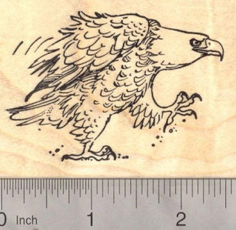 Fierce American Bald Eagle, Patriotic Rubber Stamp (fourth of July, July 4th)