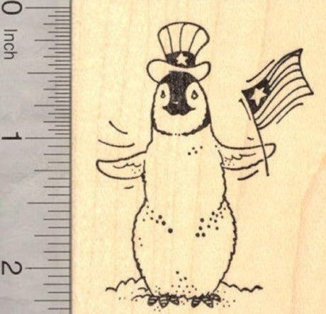 4th of July Penguin with American Flag Rubber Stamp (fourth of July, July 4th)