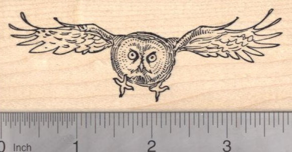 Great Gray Owl Rubber Stamp, In Flight