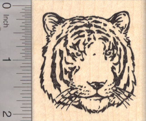 Tiger Face Rubber Stamp