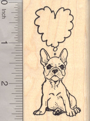 French Bulldog Dog Rubber Stamp with Heart Shaped Thought Balloon