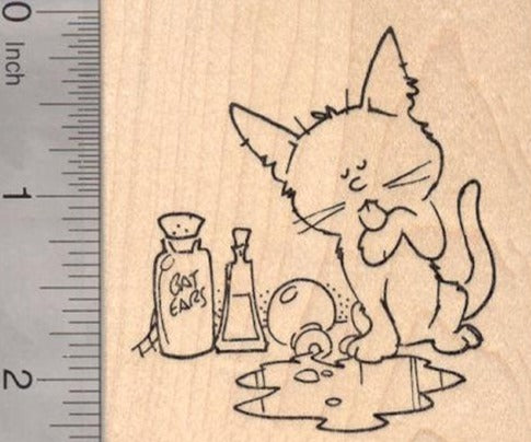 Halloween Cat lapping up Witches Brew Rubber Stamp