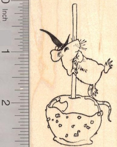 Halloween Mouse with Caramel Candy Apple Rubber Stamp
