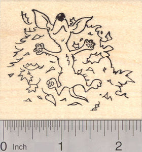 Chihuahua Dog Rolling in Autumn Leaves, Thanksgiving Rubber Stamp