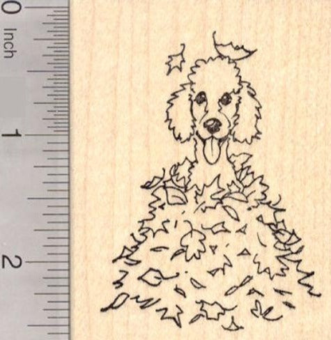 Poodle Dog Sitting in Autumn Leaves, Thanksgiving Rubber Stamp