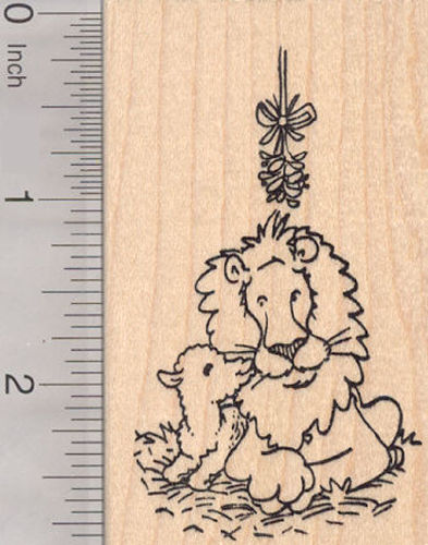 Christmas Lion and Lamb Kissing under the Mistletoe Rubber Stamp