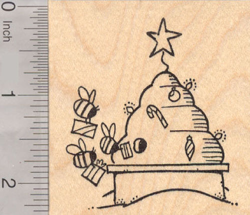 Christmas Bee Hive Rubber Stamp, Beehive