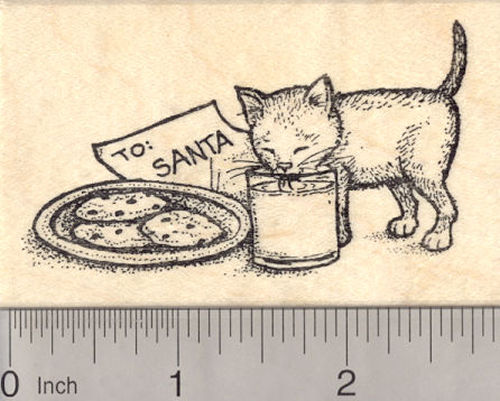 Christmas Eve Kitten Drinking Santa's Milk Rubber Stamp, Cat
