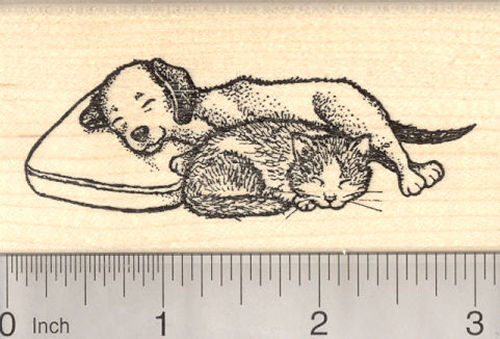 Cat and Dog Napping Together Rubber Stamp, Friendship and Peace Themed