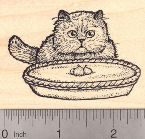 Thanksgiving Persian Cat with Pie Rubber Stamp